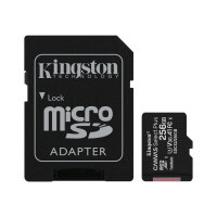 Kingston Canvas Select Plus - Flash memory card (microSDXC to SD adapter included) - 256 GB - A1 / Video Class V30 / UHS Class 3 / Class10 - microSDXC UHS-I