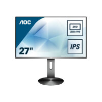"AOC Q2790PQE - LED monitor - 27"" - 2560 x 1440 QHD @ 60 Hz - IPS - 350 cd/m² - 1000:1 - 4 ms - 2xHDMI, VGA, DisplayPort - headphone - titanium grey"
