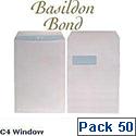 Basildon Bond C4 White Window Envelopes Pocket Peel and Seal Recycled Pack 50 Ref  B80285