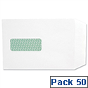 Basildon Bond C5 White Envelopes Window Pocket Peel and Seal Recycled M80278 Pack 50
