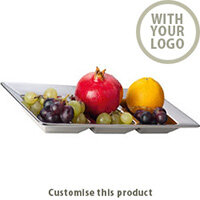 "3- Piece Chrome- Bowl ""parma"" Squared 113466 - Customise with your brand, logo or promo text"