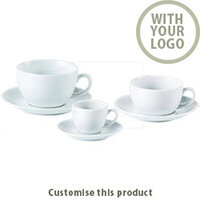 Bowl Shape Cup & Saucers 171443 - Customise with your brand, logo or promo text