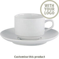 Stacking Cup & Saucer 171444 - Customise with your brand, logo or promo text