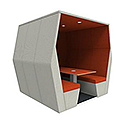 Meeting Pod BILL 6 Seater Orange & Grey With End Wall