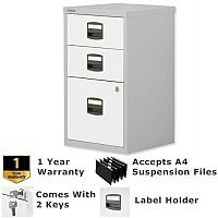 1 Filing & 2 Stationery Drawer A4 Steel Filing Cabinet Lockable Silver & White Bisley PFA Home Filers