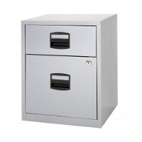 Bisley PFA A4 Mobile Home Filer With 1 Filing & 1 Stationery Drawer Grey - For A4 Suspension Filing & Stationery Storage - WxHxD: 413mm x 529mm x 400mm