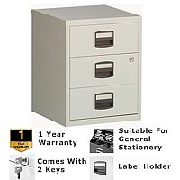 A4 Mobile Home Filer With 3 Shallow Stationery Drawers Grey Bisley PFA
