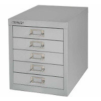 Bisley Multi-Drawer Cabinet 12 inches 5 Drawer Non-Locking Goose Grey 12/5