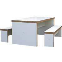Block White Canteen Table and Benches