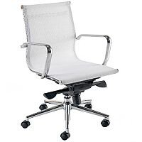 Breeze BM2 Medium Back Mesh Office Arm Chair White