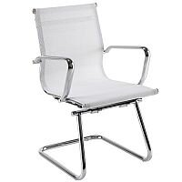 Breeze BMCA Medium Back Chrome Cantilever Mesh Arm Chair White