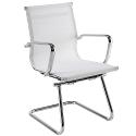 Breeze BMCA Medium Back Chrome Cantilever Mesh Arm Chair White