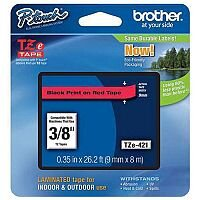 Brother P-touch TZe-421 (9mm x 8m) Black On Red Gloss Laminated Labelling Tape TZE421