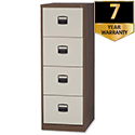 4 Drawer Steel Filing Cabinet Lockable Brown and Cream Trexus