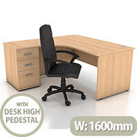 Left Hand Radial Panel End Office Desk With 3 Drawer Desk High Pedestal Beech Bundle Offer