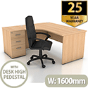 Left Hand Radial Panel End Office Desk With 3 Drawer Desk High Pedestal Bundle Offer