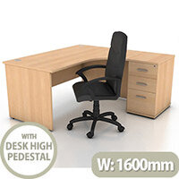 Right Hand Radial Panel End Office Desk With 3 Drawer Desk High Pedestal Beech Bundle Offer