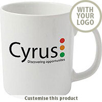 Cambridge White Earthenware Promotional Branded Mug - Customise with your brand, logo or promo text