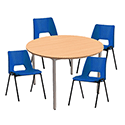 4 x Stacking Blue Chairs & 1 Round Beech Table Canteen Bundle