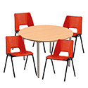 4 x Stacking Red Chairs & 1 Round Beech Table Canteen Bundle