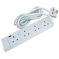 CED 4-Way Extension Lead White CEDTS4213IS