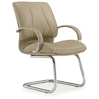 Executive Cantilever Boardroom Chair in Beige Italian Leather