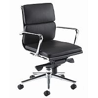 Aria C Medium Back Designer Leather Office Arm Chair Black CM2