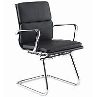 Aria C Medium Back Leather Cantilever Arm Chair Black CMCA