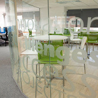 Curved Glass Partitions With Frosted Window Film Design: Sidetrade Office Canteen