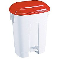 Derby Plastic Pedal Waste Bin 30 Litre White/Red 348021