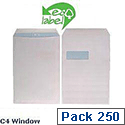 Ecolabel C4 Window Envelopes Wallet Press Seal White Recycled 90gsm Pack 250