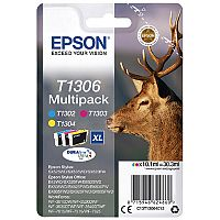Epson Stag T1306 XL Colour Ink Cartridge Pack 3 Multipack C13T13064012