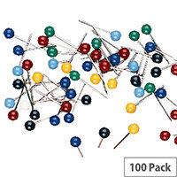 Essentials Map Pin Pack of 100 Assorted 26941