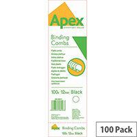 Fellowes Apex Plastic Comb Black 12mm Pack of 100