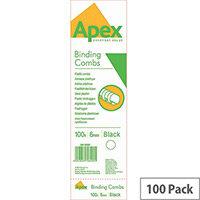 Fellowes Apex Plastic Comb Black 6mm Pack of 100