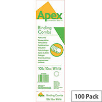 Fellowes Apex Plastic Comb White 10mm Pack of 100 6200401