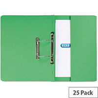 Foolscap Transfer Spring File with Pocket Recycled Green 32mm Pack 25 Elba Stratford