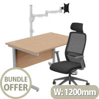 Home Office Bundle - Ashford Straight Office Desk Beech W1200mm With NV Posture Chair Black & Leap White Single Monitor Arms