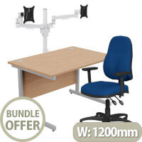 Home Office Bundle - Ashford Straight Office Desk Beech W1200mm With OA Series Blue Fabric Chair & Leap White Double Monitor Arms