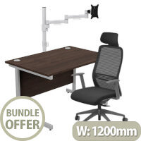 Home Office Bundle - Ashford Straight Office Desk Dark Walnut W1200mm With NV Posture Chair Black & Leap White Single Monitor Arms
