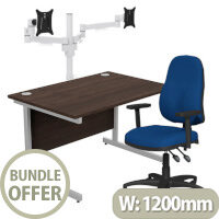 Home Office Bundle - Ashford Straight Office Desk Dark Walnut W1200mm With OA Series Blue Fabric Chair & Leap White Double Monitor Arms