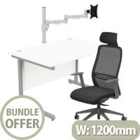 Home Office Bundle - Ashford Straight Office Desk White W1200mm With NV Posture Chair Black & Leap White Single Monitor Arms