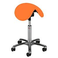 Dalton Easymek Seat Saddle Stool With Orange Leather Look Seat Upholstery H570 - 760mm