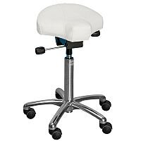 Gamma Easymek Seat Saddle Stool With White Leather Look Seat Upholstery H570 - 760mm