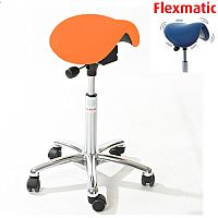 Mini Flexmatic Optimum Adjustment Seat Saddle Stool With Orange Leather Look Seat Upholstery H570 - 760mm