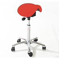 Mini Easymek Seat Saddle Stool With Red Leather Look Seat Upholstery H570 - 760mm