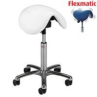 Pinto Flexmatic Optimum Adjustment Seat Saddle Stool With White Leather Look Seat Upholstery H570 - 760mm