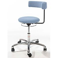 Saturn Ergonomic Stool With 360° Swivel Back-Arm Rest Imitation Leather Blue H490 - 680mm