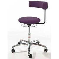 Saturn Ergonomic Stool With 360° Swivel Back-Arm Rest Purple H490 - 680mm