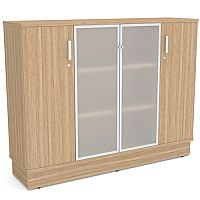 Grand Medium 2 Wooden & 2 Frosted Glass Door Credenza Cabinet Marbella